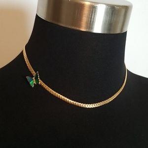 Vintage Avon Signed Gold Butterfly Choker